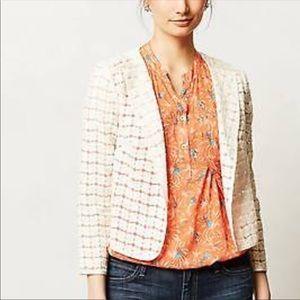 Anthropologie Elevenses Floral Lace Blazer Jacket